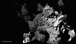This photo of 67P reminds me of the various coastal rocks I have photographed for my blog in recent years, whence faces can be made. This one is like the head of an old man with a pipe?